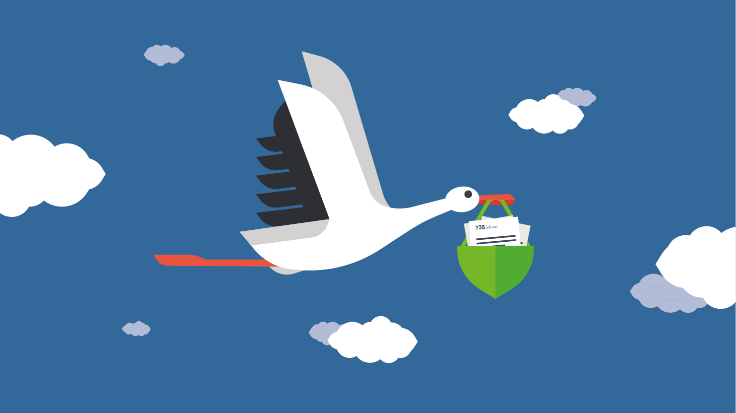 Illustration of a stork carrying documents like a baby